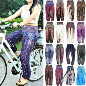 Womens Loose Fit Harem Pants Baggy Hippie Palazzo Trousers Bohemian Yoga Pants
