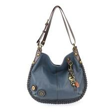 Chala CONVERTIBLE Hobo Large Tote Bag Metal SLIM CAT Vegan Leather Navy Blue