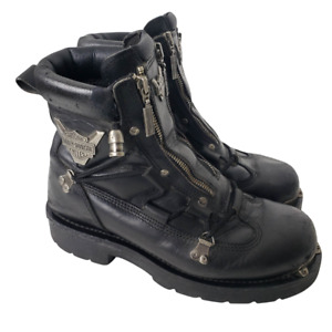Harley Davidson Brake Light Leather Boots Zip Up Motorcyle Biker Black Men US 9