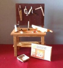 Dollhouse Miniature Handcrafted Workbench, tools, wood, dollhouse kit 1:12 scale