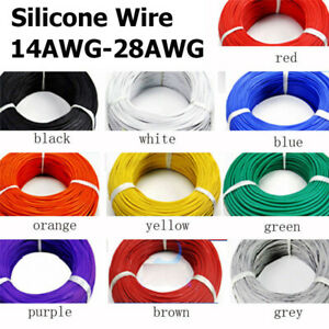 16 28 20 18AWG Silicone Wire Cable Copper Line Tinned Flexible Stranded 10/5/2M