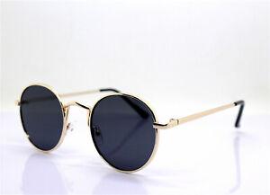 Sunglasses Men Woman Classico Round Small Gold Black Hippies 80 Teashades