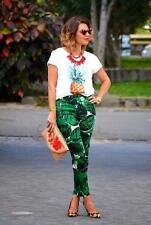 ZARA GREEN PALM TROPICAL PRINT TROUSERS SIZE M MEDIUM REF 7645/068 BLOGGERS