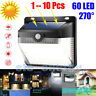 60 LED Solar Powered PIR Motion Sensor Wall Security Light Lamp Garden Lighting