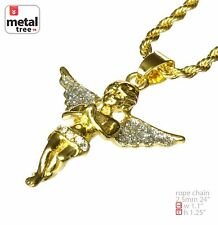 """Rapper 14k Gold Plated Micro Praying Angel Pendant  24"""" Rope Chain HC 238 G"""