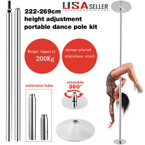 Spinning Dance Pole Static Steel Stripper Club Dancing Exercise Portable 45mm