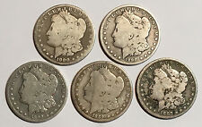 Pre 1921 US Morgan Silver Dollars Lot of 5 in Cull Condition Free Shipping