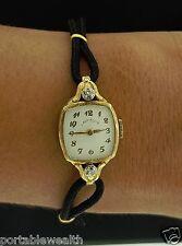 Lady Elgin Diamond Ladies Wrist Watch 14K YG 19 Jewel Vintage not working