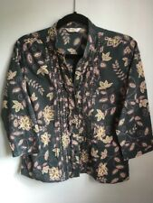 Dark Green Cotton Chinese Style Blouse With Beading Size 12