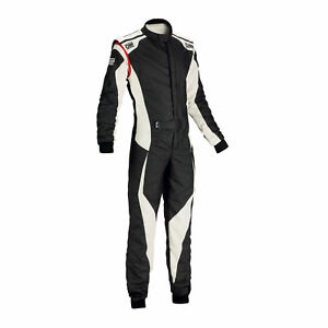 FIA OMP racing suit TECNICA EVO flame resistant BLACK/WHITE rally race NEW 2018
