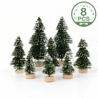 8PCS Mini DIY Christmas Tree Sisal Bottle Brush Xmas Tree Village House Decor