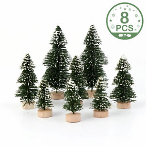 8Pcs Miniature Snow Frost Xmas Tree Decor Mini Sisal Christmas Trees Ornaments