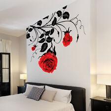 Grande Flor Rosas Vid Calcamonías De Vinilo Para Arte Mural/Adhesivos De Pared/
