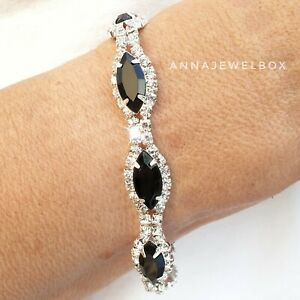 Silver Black Cubic Zirconia CZ Crystal Tennis Bracelet Bangle Bridal + Gift Bag