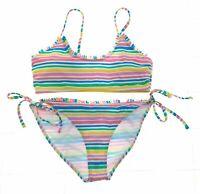Indigo Rain Womens 2 Piece Bikini Multi Color Striped Bathing Suite Size 1X