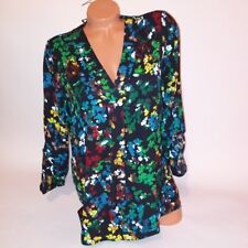 Chaus Womens Blouse Small Floral Multicolor Black Green Red Blue Yellow