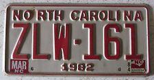 North Carolina 1984 License Plate HIGH QUALITY # ZLW-161