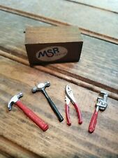 Dollhouse Miniatures, Wooden Tool Box with  Four Tools