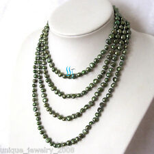 "Freshwater Pearl Necklace Strands 70"" 5-6mm Dark Green Baroque"