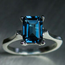 1.75ct Natural London Blue Topaz 925 silver 9ct 18ct 14k 18k Gold Platinum ring