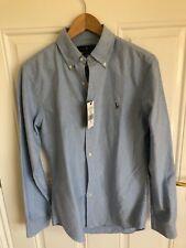 Ralph Lauren Calce Ajustado Camisa Tejido Oxford Bebé Azul Tamaño Mediano