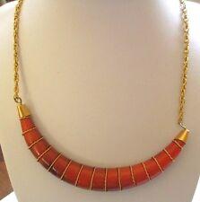 collier bijou vintage année 1970 corne de gazelle couleur orangé et or 3525