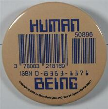 #08035 Pinback Button Barcode Tattoo Human Being
