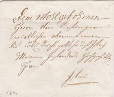 Brief-Hülle 1796 nach Isny Handschrift Schnörkel Siegel Allgäu Bächler