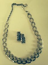 Vintage Art Deco style square link necklace and matching earrings w rhinestones