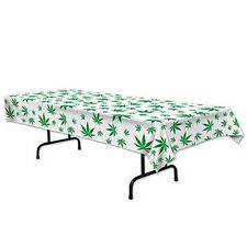 Weed Leaf Marijuana 420 Party Plastic Tablecloth Leaf Print Cannabis Table Cover