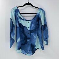 HALSTON Off The Shoulder Blue Watercolor Top sz S Small