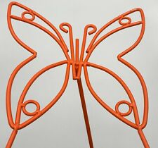 Wrought Iron Orange Garden Butterfly Outdoor Metal Yard Art Decor Lawn Ornament