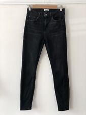 ZARA Black Washed Skinny Stretchy Mid Waist Denim Jeans 8