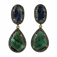 Drop/Dangle Earrings 14k Gold Jewelry Emerald 0.9ct Diamond Blue Sapphire Silver