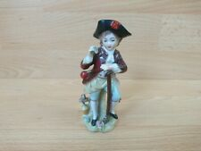 Vintage Sitzendorf Figure of Boy with Flowers Walking Stick Crutch