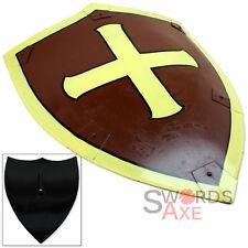 Dark Knight Crusader Medieval Heater Shield w Cross Brown & Yellow