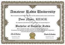 Amateur Radio Degree * Certificate * Ham Radio * Humor * Novelty