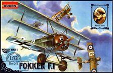 FOKKER F.I   /Dr.I/ (WERNER VOSS & MANFRED VON RICHTHOFEN ACES MKGS) 1/72 RODEN
