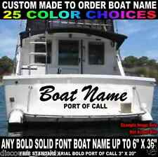 """6"""" x 36"""" CUSTOM MADE TRANSOM BOAT NAME VINYL DECAL LETTERING  W/ PORT OF CALL"""