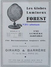 PUBLICITE LES GLOBES FOREST GLOBE LUMINEUX GIRARD & BARRERE DE 1934 FRENCH AD