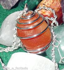 Collana con AVVENTURINA ROSSA cristalloterapia zen pietre mineral chakra argento