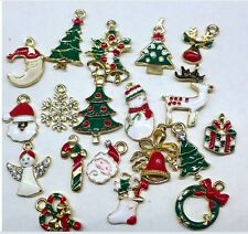 19pcs Mixed Christmas Charms Set Jewellery Pendants Xmas Holiday Decor