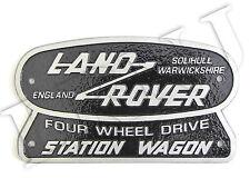 LAND ROVER SOLIHULL WARWICKSHIRE ENGLAND STATION WAGON ORIGINAL BADGE NAMEPLATE
