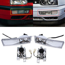 Pair Front Bumper Crystal Lens Fog Light Signal Lamp For VW Golf Jetta Mk3 93-98