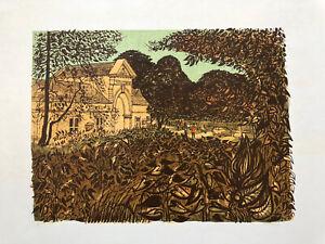 ROBERT TAVENER R.E. 1920-2004 Artist Proof LINOCUT Dillington House 3, Somerset