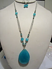 Blue Faceted Glass Drop Pendant Glasss Bead White Metal Link Necklace Earring