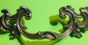 """Antique Hardware Drawer Pull French Provincial 3 1/2""""centers Brass"""