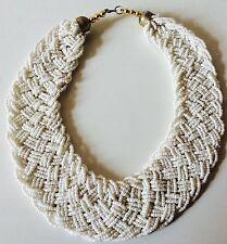 Perlas blancas Damas Distintivo Collar trenzado collar babero con cuentas 4 Colores