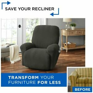 Mainstays Pixel 4-Piece Stretch Recliner Chair Slipcover Polyester Adult38x36x37