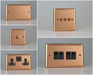 Varilight Urban Polished Copper Range - Black Plastic Inserts & Switches